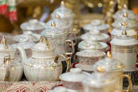 chinese teapot: Vintage grunge chinese teapot set. - (Selective focus) Stock Photo