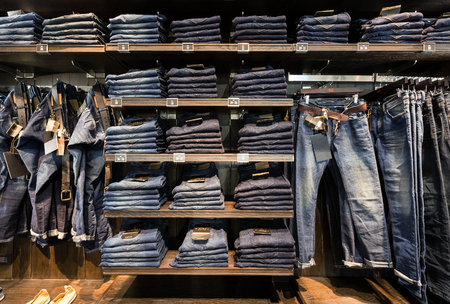 cc: Nonthaburi, Thailand - February 24, 2016: Jeans at shelf in the CC DOUBLE O american luxury shop. Editorial