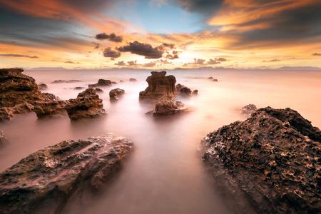seascape: Seascape during sundown. Beautiful natural summer seascape.
