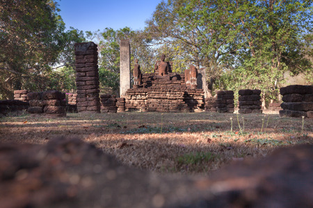 aukana buddha: Old buddha statue in the Kamphaeng Phet Historical Park, Thailand. - (Shallow of focus) Stock Photo