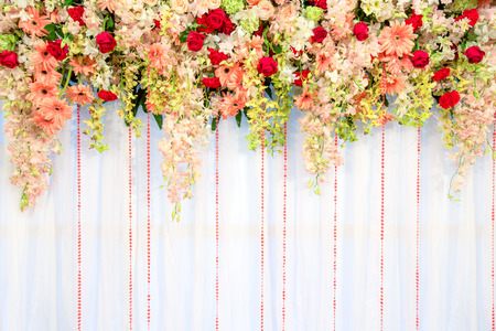 Beautiful flowers and wave curtain wall background - Wedding ceremony scene.
