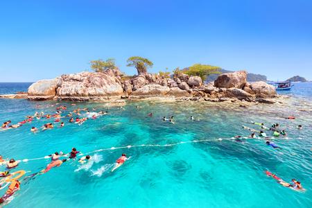 Tourists are enjoy snorkeling underwater at Koh Yak Lek (Island near Koh Chang in Trat, Thailand) Stock Photo