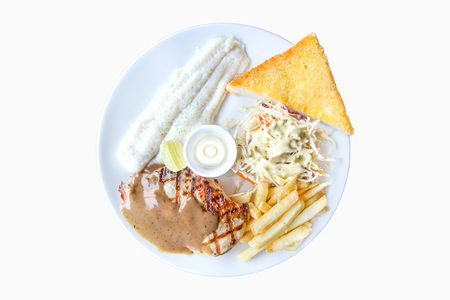dolly: Dolly fish and chicken steak, french fries, garlic bread and salad on isolated white background.