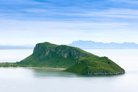 water s edge: Island and mountain in the middle of the sea in Thailand.