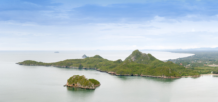 Island and mountain in the middle of the sea in Thailand.
