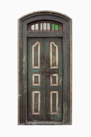 lit collection: Vintage wooden door on isolated white background.