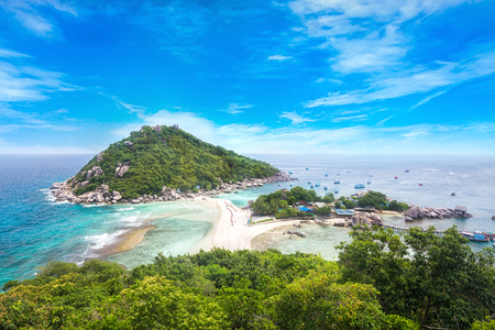 View point from top of mountain for see the beach, sea and nature of Nang Yuan and Tao island.