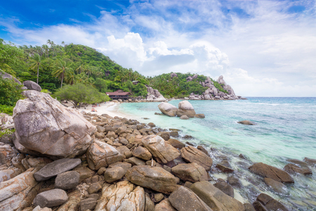 Beautiful natural rock stone on the tropical beach at Freedom beach, Koh Tao in Thailand.