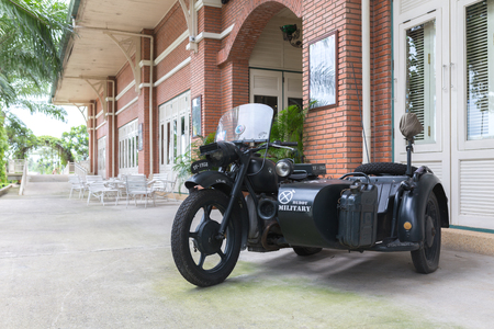 museum rally: Nonthaburi, Thailand - June 18, 2017: Military 3 wheel trailers BMW brand, BMW is a German automobile, motorcycle and engine manufacturing company founded in 1916.