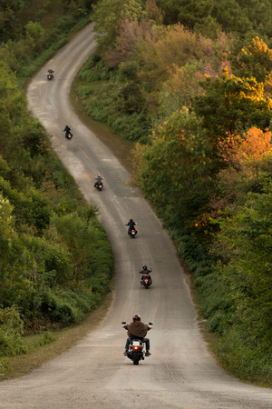 Group of a bikers on the highway between beautiful green tree forest, motorcyclists traveling along mountains road, freedom and active lifestyle concept. - Depth of field. Standard-Bild