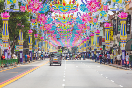 Crowd of people across the road at Little India district. Little India is Singaporean neighbourhood east of the Singapore River.