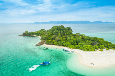 Aerial view of tropical beach Andaman Sea at Koh Khai near Koh Lipe in Satun, in Thailand.