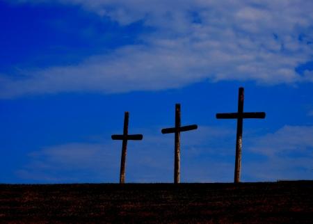 夕日丘の上 3 つの十字架 写真素材