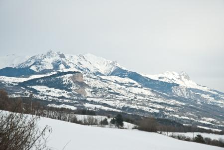 view of the snowy mountain near Bayard, Gap, France