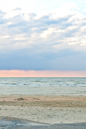 sunset on skyline,north sea, la panne, belgium Stock Photo - 14798985