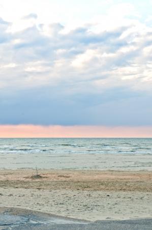 sunset on skyline,north sea, la panne, belgium Stock Photo - 14798985