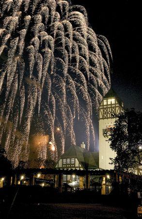 assiniboine: fireworks at Assiniboine park Winnipeg, Manitoba Stock Photo