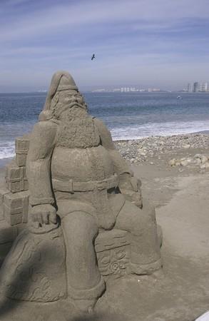 sand sculpture on beach in Puerto Vallarta, Mexico