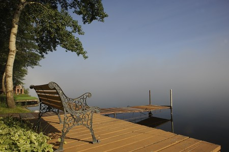 Otter Lake Manitoba, Canada met ochtend mist