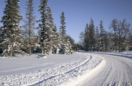 assiniboine: wintery road after fresh snow fall Stock Photo