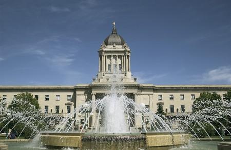 Manitoba Legislature van achteren, Winnipeg, Manitoba