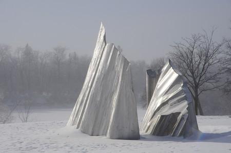 Agassiz Ice sculpture at Assiniboine Park, Winnipeg, Manitoba Stock Photo