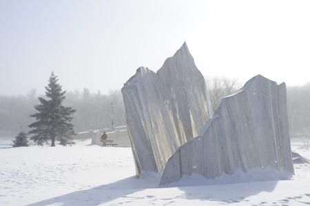 Agassiz ijs sculptuur op Assiniboine Park, Winnipeg, Manitoba  Stockfoto