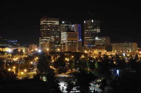 Centrum Winnipeg, Manitoba skyline in de nacht