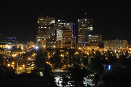 Downtown Winnipeg, Manitoba skyline at night