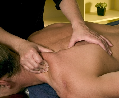 female hands massaging man