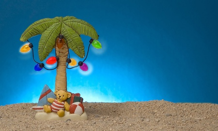 palm: palm tree decoration with lights Stock Photo
