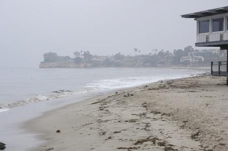 santa barbara: Foggy Santa Barbara habour, California