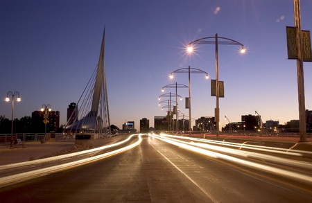 riel: Esplanade Reil Bridge at night , Winnipeg, Manitoba,, California