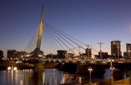 winnipeg: Esplanade Reil Bridge at night , Winnipeg, Manitoba,