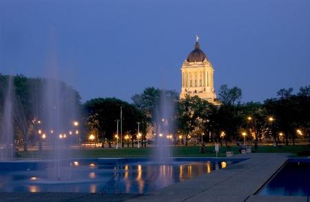 Legislative building at night, Winnipeg, Manitob