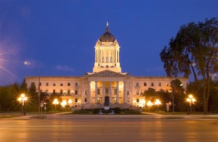 Wetgevende gebouw in de nacht, Winnipeg, Manitoba