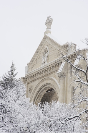 St. Boniface Cathedral in winter, Winnipeg, Manitoba,