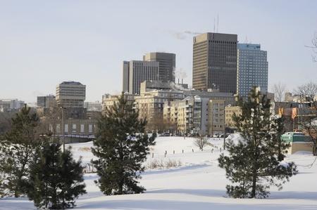 downtown Winnipeg in winter, Manitoba skyline