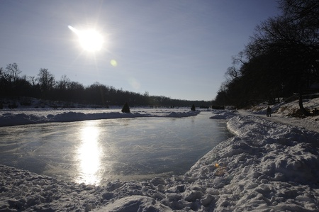 assiniboine: skating rink on the river, Winnipeg, Manitoba Stock Photo