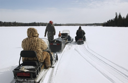 Snowmobiling in rural Manitoba