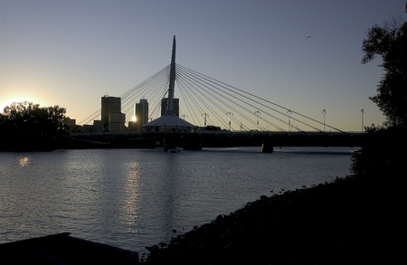 riel: Esplanade Reil Bridge at dusk , Winnipeg, Manitoba,