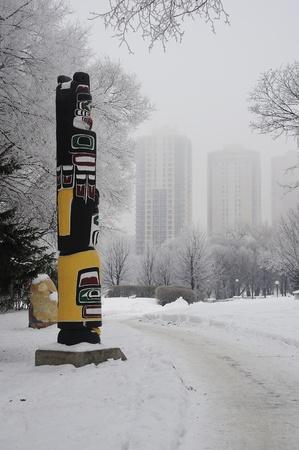 statues in Winnipeg winter, Manitoba