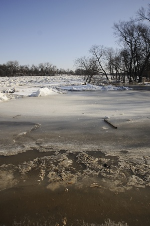 spring flooding with ice jams in Manitoba
