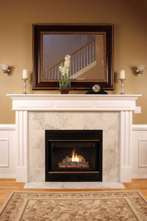 Luxury interior with marble fireplace photo