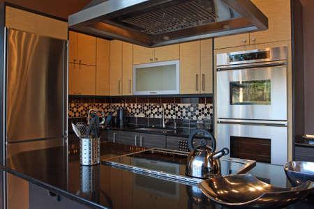 black appliances: cucina di lusso moderno con acciaio inox e granito Archivio Fotografico