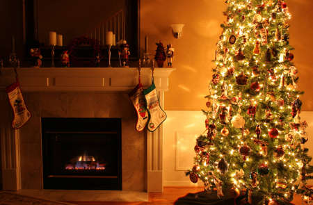 Beautiful interior of home decorated for Christmas photo