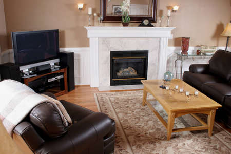 contemporary family room with fireplace