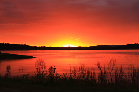 sunrise ocean: Sunset at Lake Glenbawn State Park, Hunter Valley, Australia Stock Photo
