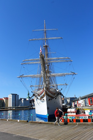 Tall Ship Statsraad Lehmkuhl moored in its home port of Bergen (Norway) Editorial