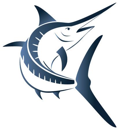 Jumping blue marlin illustration